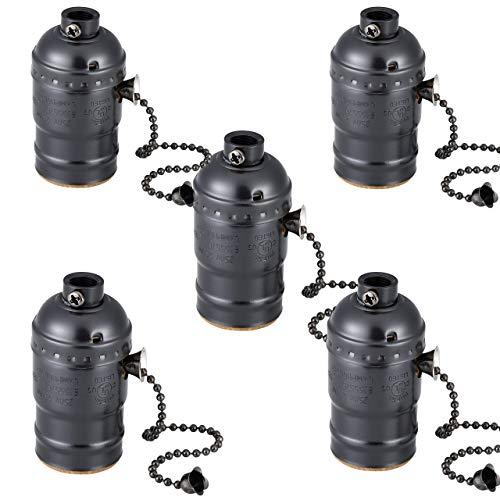 Mogokoyo 5er Vintage E27 Lampenfassung mit Schalter Edison Deckenfassung Socket Lampenfuss Halter für DIY Hängeleuchte Deckenleuchte Beleuchtung Socket (Stil 2-Schwarz)