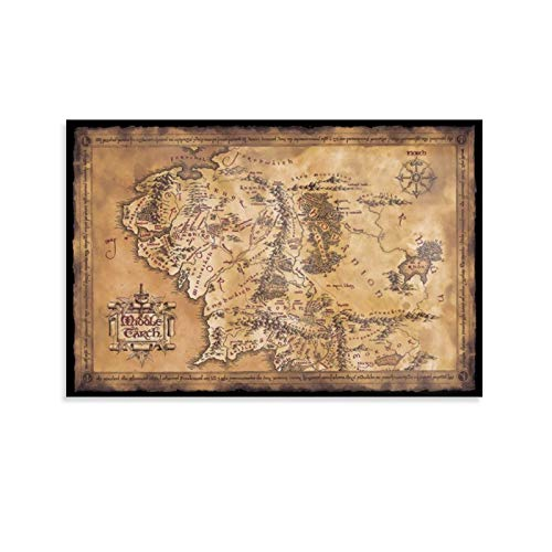 HUAIREN Kunstdruck auf Leinwand, Motiv: Der Herr der Ringe, der Hobbit, dunkle Karte der Mittelerde, für Raumdekoration, Familienschlafzimmer, Badezimmer, ästhetisches Poster, 20 x 30 cm
