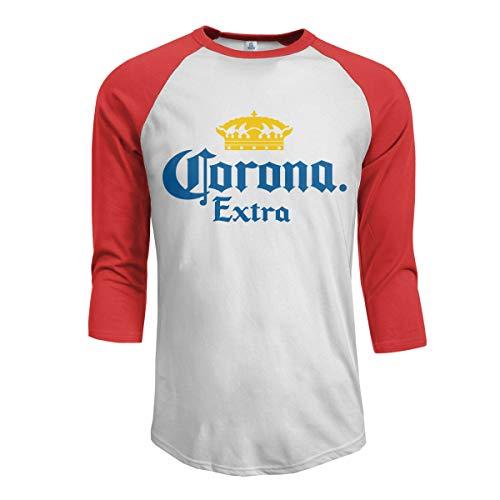 Beer Gear Corona - Maglietta da baseball in cotone elasticizzato con maniche a 3/4 Rosso L