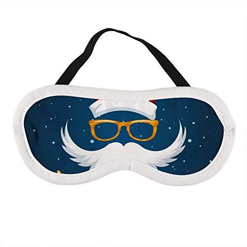 Tragbare Augenmaske für Männer und Frauen, Weihnachtsmütze, Brille und Bart Poster, die beste Schlafmaske für Reisen, Nickerchen, gibt Ihnen die beste Schlafumgebung