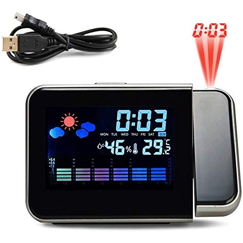 WCJ Radio Control Projectie (Premium Kwaliteit/Clear Display) Digitale Projectie Alarm met Weerstation Thermometer Datum Display USB Charger Klok