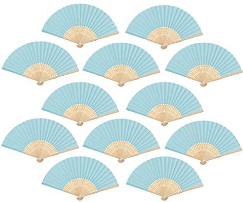 Abanico Plegable de Mano de Tela, Abanico DIY de Bambú y Papel, Regalo Recuerdo Detalles comunion para invitados de Boda, 12 Pcs de Color Azul