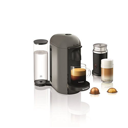 Nespresso VertuoPlus Coffee and Espresso Machine by Breville with Aeroccino, Grey