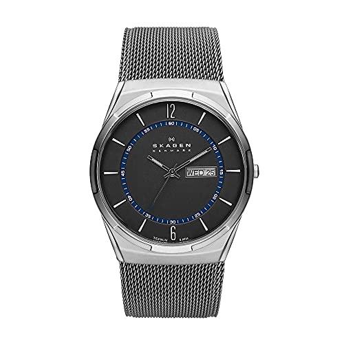 Skagen Men's Melbye Quartz Analog Stainless Steel and Stainless Steel Mesh Watch, Color: Gray & Blue Steel Mesh (Model: SKW6078)