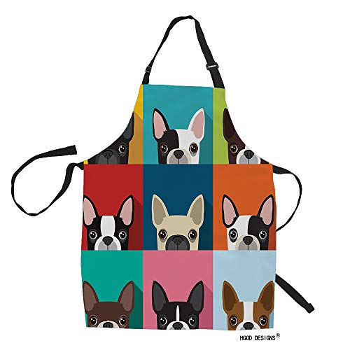 HGOD DESIGNS Dog Kitchen Apron,Funny Boston Terrier Face Art Portrait Icon Kitchen Aprons For Women Men For Cooking Gardening Adjustable Home Bibs,Adult Size