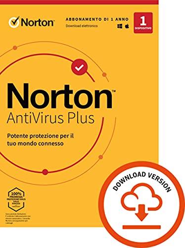 Norton Antivirus Plus 2021, Antivirus per 1 Dispositivo Licenza di 1 anno Secure VPN e Password Manager PC, Mac, tablet e smartphone Standard PC Mac, Codice d attivazione via email