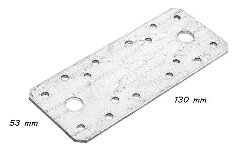 * Lochplatte verzinkt | 130 mm x 53 mm | Materialstärke: 3 mm | Baubeschlag Lochblech Flachverbinder Nagelplatte Holzverbinder (2)