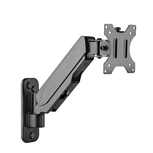 SIIG Aluminum Gas Spring Full Motion Ergonomic Single Arm Monitor Wall Mount - Heavy Duty Holds 17' to 32' Screen, up to 17.6lbs - Single VESA 75/100m