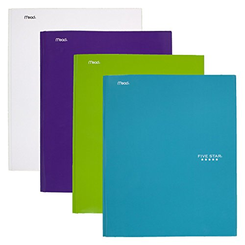 Five Star 2 Pocket Folder with Prong Fasteners, Folders with Pockets, Teal, White, Purple, Lime, 4 Pack (38104)