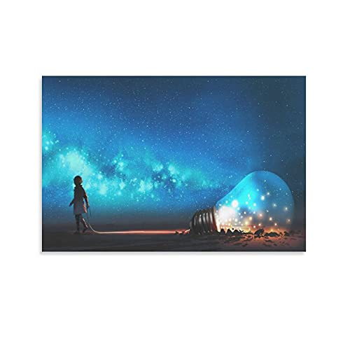 Diannao Boy Pulling Big Light Bulb Half Sepoled on The Ground Against Night Sky with Stars and Space Dust Poster su tela e Wall Art Stampa su tela Modern Family Camera da letto 30 x 45 cm