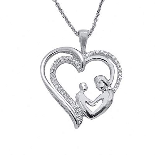 Colgante de amor maternal con diamante de corte redondo D/VVS1 de 1/10 quilates, cadena de 45,72 cm en plata de ley 925