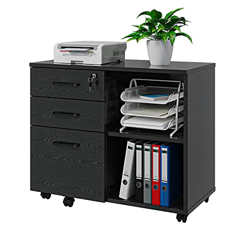 Panana Wood File Cabinet, 3 Drawer Mobile Lateral Filing Cabinet on Wheels, Printer Stand with Open Storage Shelves for Home Office (Black)