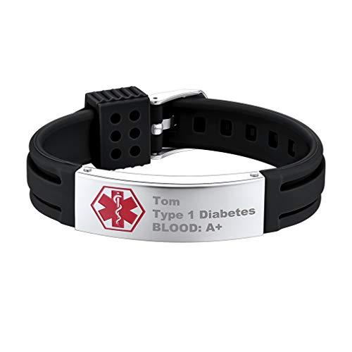 Supcare Cruz Roja Alerta Médica Pulsera ID con Placa de Identidad Acero Inoxidable y Tira Ajustable de Silicona Negro para Casos de Emergencia Personalización Gratis