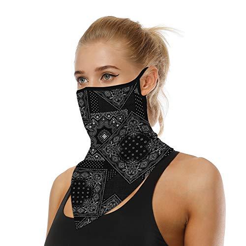 Bequemer Laden Bandana Mundschutz Halstuch Motorrad Multifunktionstuch Ohrschlaufen Schlauchschal Kopftuch Gesichtsmaske UV-Schutz Staubdichter Atmungsaktiv für Damen Herren