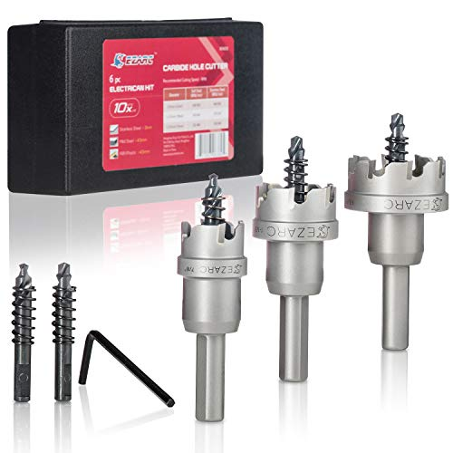EZARC Carbide Hole Cutter Set 6 Piece for Stainless Steel, Long Life Hole Saw Kit for Hard Metal