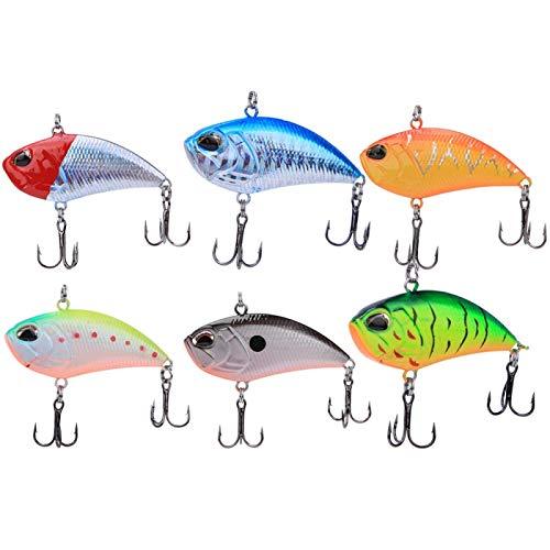 SALUTUYA Señuelo de Pesca de plástico ABS Plástico Impreso en 3D Baricentro múltiple Incorporado Bola de Acero Calidad Metal VIB Cebo de Pesca, Amante de la Pesca