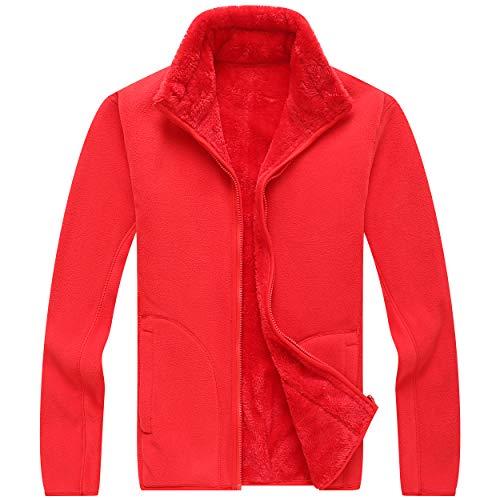GITVIENAR Herren Fleece Jacke Full Zip Winddicht Super warm Strickjacke doppelseitig Plus Samt für Outdoor Wandern Bergsteigen unifarben