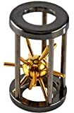 """HOME-X """"Satellite in Cage"""" Metal Puzzle, Metal Spiked Ball in Wood Chamber, Brain Teaser for Adults and Kids, Disentanglement Puzzle Toy- 2.75"""" L x 1.75"""" D"""