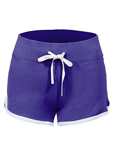 SwissWell Femme Short de Sport Élastique Stretch Yoga Fitness Casual Plage Short Réglable en Été avec Bords Colorés, Violet, XL