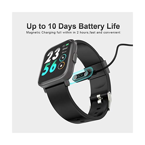 MOTOK - Reloj inteligente inteligente para hombre y mujer, 5 ATM, resistente al agua, frecuencia cardiaca y oxígeno… 9