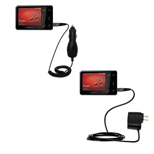 Gomadic The Essential Car and Wall Accessory Kit for The Creative Zen (All GB Versions) - 12v DC Car and AC Wall Charger Solutions with TipExchange