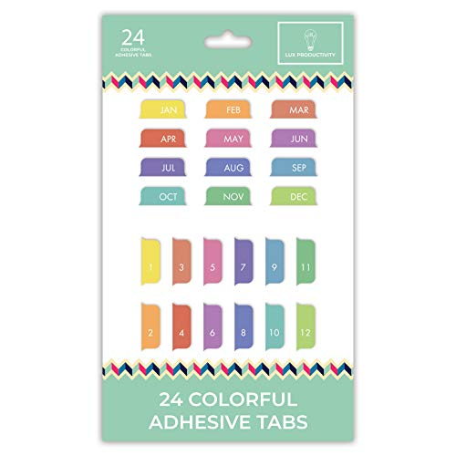 Sticky Adhesive Tabs Months Numbers Colorful…