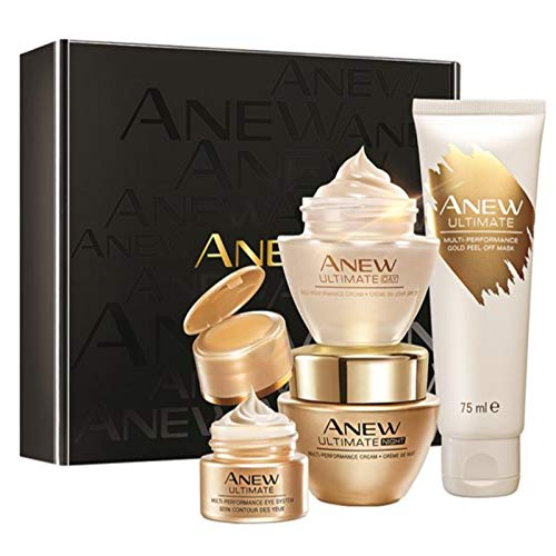 Avon Anew Ultimate Multi-Performance 4er Set im Geschenkkarton 1x Tagescreme 50ml 1x Nachtcreme 50ml und 1x Augenpflege 15ml 1x Gold-Abziehmaske für die reife Haut.