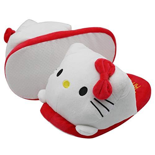 Y-PLAND Hellokitty Hello Kitty Zapatillas de algodón para Padres e Hijos, Zapatillas de Felpa cálidas Antideslizantes para el hogar de Dibujos Animados-Blanco_EU35-42