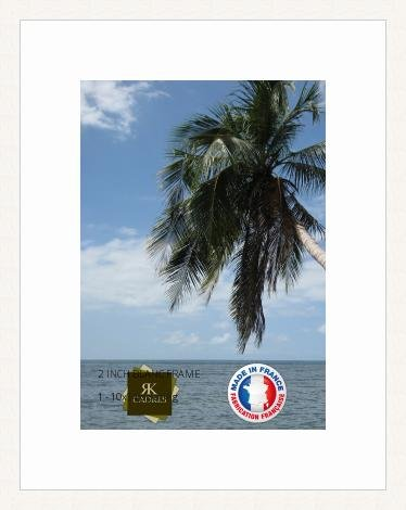 Marco de fotos con paspartú Super White Marco de foto de la pared para obtener una imagen 25x35 / 25 x 35 cm marco de la foto Blanco, 2 cm de ancho, Marco de madera de fotos