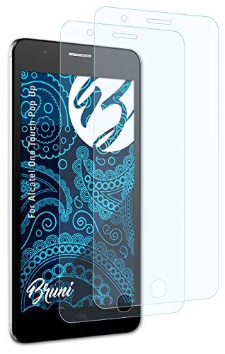 Bruni Schutzfolie kompatibel mit Alcatel One Touch Pop Up Folie, glasklare Bildschirmschutzfolie (2X)