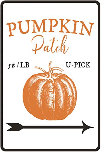 "Lilyanaen New Metal Sign Aluminum Sign Pumpkin Patch Sign Decor Halloween Lover Gift Fall Sign for Outdoor & Indoor 12"" x 8"""
