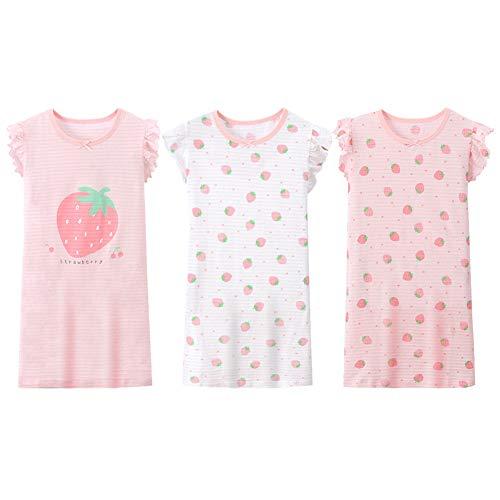 LPATTERN Kinder Mädchen 3er Pack Nachthemd Nachtwäsche Nachtkleid Schlafanzug Sleepwear aus Baumwolle - Erdbeere Motiv, Rosa Weiß Rosa   Erdbeere 3er Pack, 122-128(Label: 130)