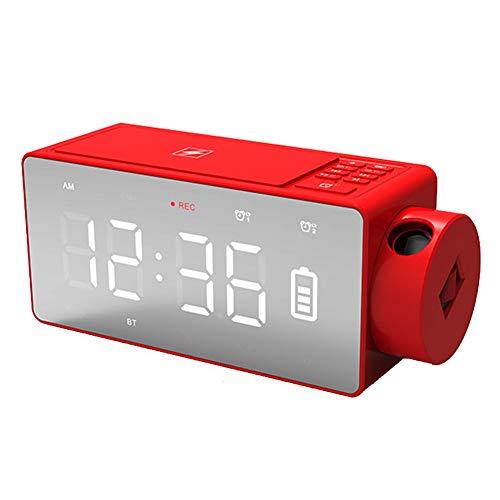 MJBOY wekker notte elektronische LED projectie klok multifunctioneel draadloos opladen wekker Bluetooth Speaker