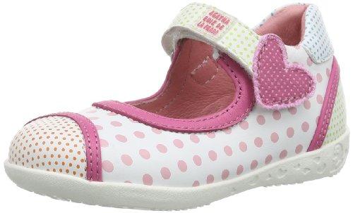 Agatha Ruiz de la Prada 142908, Chaussures Premiers Pas pour bébé (Fille) - Blanc - Weiß (Blanco y Estampado), 21 EU