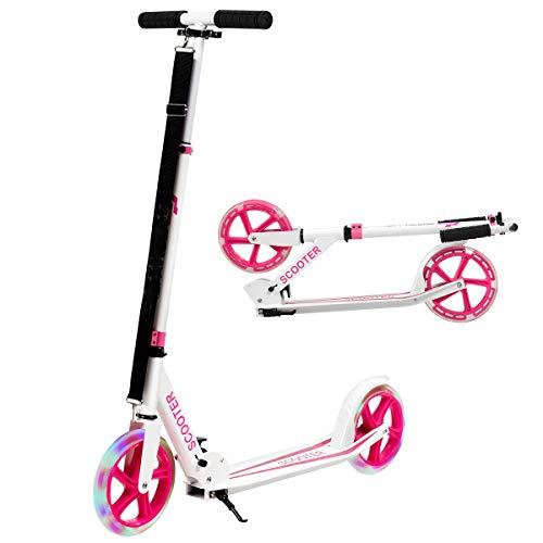 COSTWAY Scooter Roller klappbar, Tretroller höhenverstellbar, Cityroller 100kg Tragkraft, Sport Kickscooter Kickroller mit 2 LED Rädern (rosa)