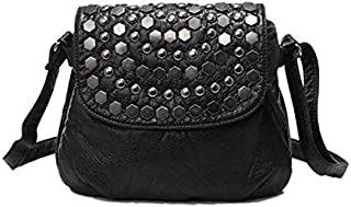 Dengyujiaansdjb Handbags For Women, Fashion Black Women's Clutch Bag Rivet Girl Leather Party Wallet Small One Shoulder Ha...
