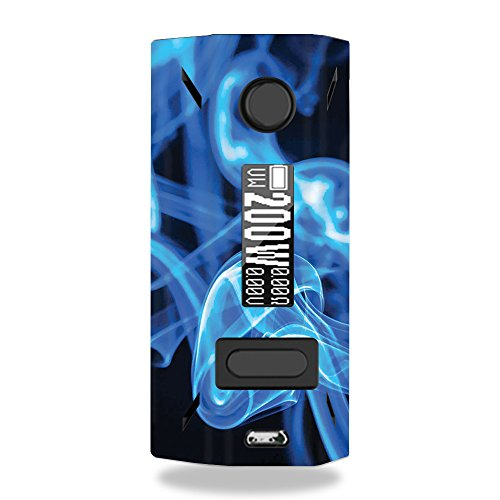 MightySkins Skin Compatible with Smoant Battlestar 200W - Blue Flames | Protective, Durable, and Unique Vinyl Decal wrap Cover | Easy to Apply, Remove, and Change Styles | Made in The USA