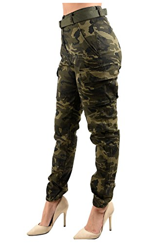 TwiinSisters Women's High Waist Slim Fit Jogger Cargo Camo Pants for Women with Matching Belt - Large, Army Olive