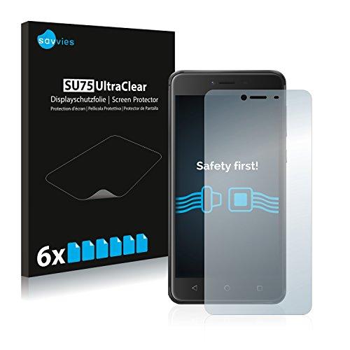 Savvies 6X Schutzfolie kompatibel mit Wiko Lenny 3 Max Bildschirmschutz-Folie Ultra-transparent