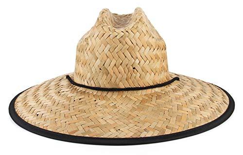 EOZY-Cappello in Paglia da Bagnino Grande Visiera Vintage Stampa Donna Unisex Fedora Classico Berretto Protezione da Sole Anti-UV Spiaggia Vacanze Primavera Estate