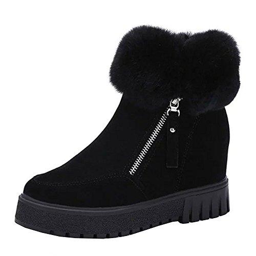 DOLDOA Stiefel Damen, Frauen warme Winter Casual Schnee erhöht Zip Short Ankle Boots Schwarz, Grün, Kaffee