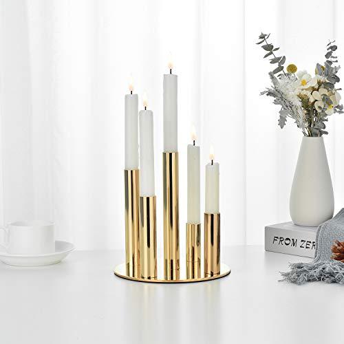 VINCIGANT Vintage Kerzenständer, Golden Kerzenhalter Metall Kerzenleuchter Für Wohnzimmer Schlafzimmer Kreativ Kerzen Ständer Für Verwendet Für Weihnachten Tischhochzeit Dekoration