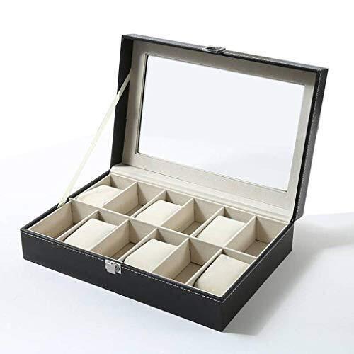 WXDP Caja de reloj automática, caja para hombres de cuero PU fundas para hombres almohadas extraíbles para almacenamiento de exhibición
