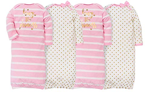 Gerber Baby Girls' 4 Pack Gowns Hug The Princess Size 0-6 Months
