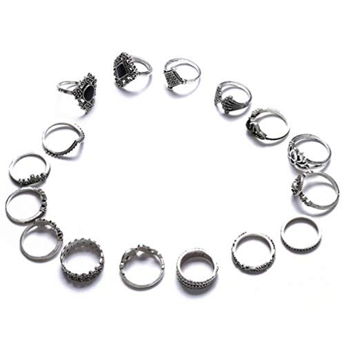 MOONRING 15 Pcs Bohemian Rings Vintage Silver Tone Rhinestone Joint Knuckle Ring Set for Women Birthday Gifts