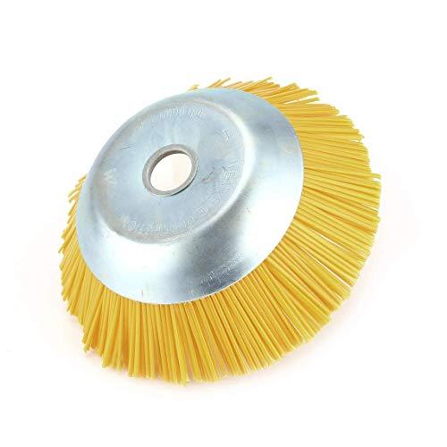 TrifyCore - Cepillo redondo de jardín de nailon para hierbas, cabezal cortacésped, cabezal universal para cortacésped, diámetro exterior 200 mm, agujero interior 25,4 mm, color amarillo