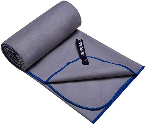 Cressi Microfibre Fast Drying Toalla Sport, Unisex Adulto, Gris/Azul, 90x180cm