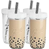 Bedoo Bubble Tea Cups 4 Pack 24 oz, Reusable Wide Mouth Smoothie Cups, Iced Coffee Cups With White Lids and Silver Straws Ball Mason Jars Glass Cups, Travel Glass Drinking Bottle