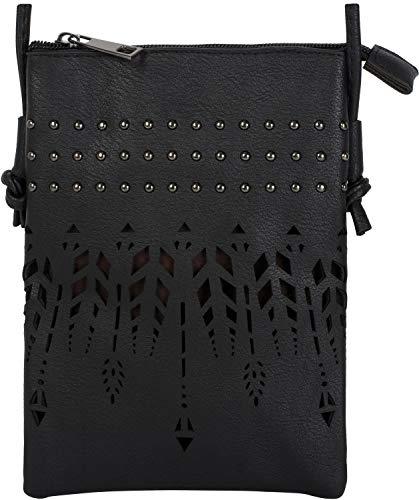 styleBREAKER Damen Mini Bag Umhängetasche Ethno Style und Nieten, Schultertasche, Handtasche, Tasche, 02012260, Farbe:Schwarz
