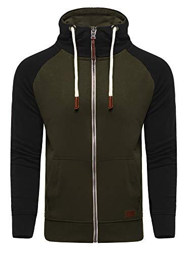 behype. Herren Raglan Sweat-Jacke Sweatshirt weicher Hoodie mit Kapuze & Dicker Kordel 40-7681 Khaki L